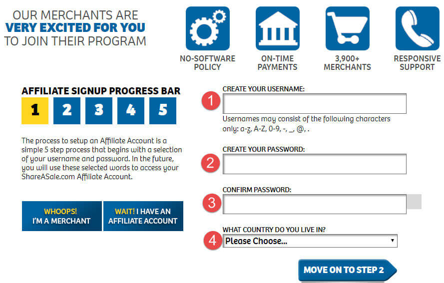 ShareaSale Affiliate Sign up Form